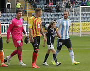 James McPake leads out Dundee with mascot Amy Fairweather and Partick Thistle captain Ryan Stevenson - Dundee v Partick Thistle, SPFL Premiership at Dens Park<br /> <br />  - &copy; David Young - www.davidyoungphoto.co.uk - email: davidyoungphoto@gmail.com