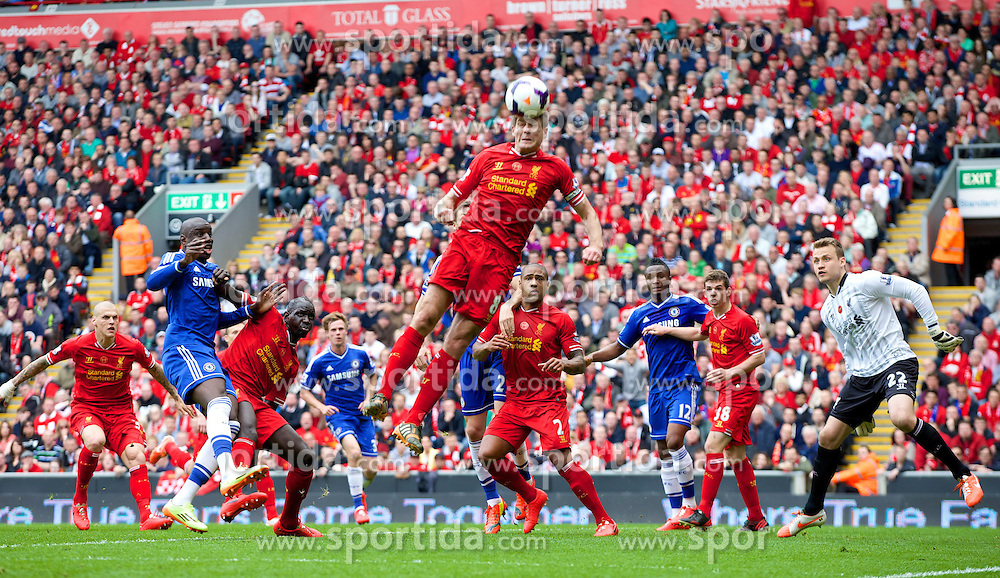 27.04.2014, Anfield, Liverpool, ENG, Premier League, FC Liverpool vs FC Chelsea, 36. Runde, im Bild Liverpool's captain Steven Gerrard in action against Chelsea // during the English Premier League 36th round match between Liverpool FC and Chelsea FC at Anfield in Liverpool, Great Britain on 2014/04/27. EXPA Pictures &copy; 2014, PhotoCredit: EXPA/ Propagandaphoto/ David Rawcliffe<br /> <br /> *****ATTENTION - OUT of ENG, GBR*****
