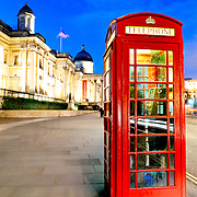 British public telephone box with the National Gallery and Trafalgar Square