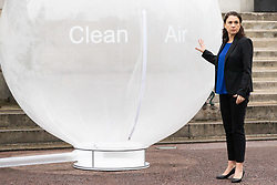 Dr Sylvie Childs, Senior Product Manager with Hyundai UK poses with a balloon filled with clean air as Hyundai UK demonstrates the Hydrogen-powered Nexo that not only produces completely clean emissions but also cleans up the air its engine ingests, thanks to a filtration system developed by scientists at University College London. UCL London, October 17 2018.