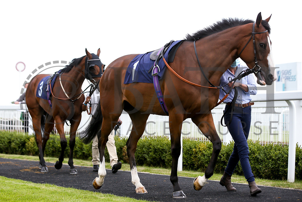 Pink Flamingo ridden by Joey Haynes and trained by Michael Attwater and Silent Agenda ridden by Kieran Shoemark and trained by Archie Watson - Mandatory by-line: Robbie Stephenson/JMP - 18/07/2020 - HORSE RACING- Bath Racecourse - Bath, England - Bath Races 18/07/20