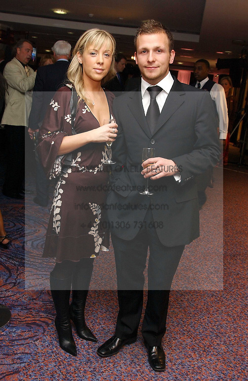 Footballer JODY MORRIS and his wife LOUISE at a sales event for the exclusive Chelsea Bridge Wharf in aid of CLIC Sargeant cancer charity held at Stamford Bridge football stadium, Chelsea, London on 7th February 2006.<br />