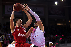 28.03.2016, Telekom Dome, Bonn, GER, Beko Basketball BL, Telekom Baskets Bonn vs FC Bayern Muenchen, 23. Runde, im Bild Paul Zipser (FC Bayern Muenchen #16) beim Korbleger gegen Isaiah Philmore (Telekom Baskets Bonn #6) // during the Beko Basketball Bundes league 23th round match between Telekom Baskets Bonn and FC Bayern Munich at the Telekom Dome in Bonn, Germany on 2016/03/28. EXPA Pictures © 2016, PhotoCredit: EXPA/ Eibner-Pressefoto/ Schüler<br /> <br /> *****ATTENTION - OUT of GER*****