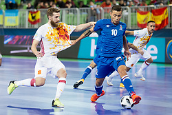 Pola of Spain and Vassoura of Azerbaijan during futsal match between National teams of Ukraine and Portugal at Day 6 of UEFA Futsal EURO 2018, on February 4, 2018 in Arena Stozice, Ljubljana, Slovenia. Photo by Urban Urbanc / Sportida