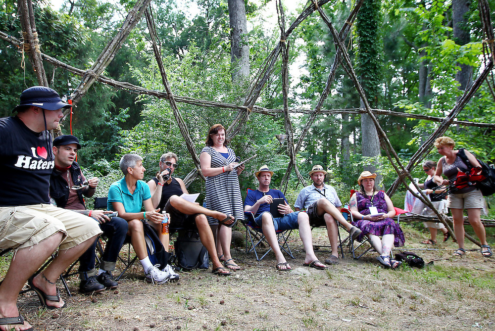 Clinical sexologist Becky Knight, standing center, leads a conversation on sexuality and spirituality in the geodesic dome at the Wild Goose Festival at Shakori Hills in North Carolina June 24, 2011.  (Photo by Courtney Perry)