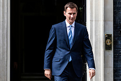 © Licensed to London News Pictures. 20/07/2019. London, UK. Foreign Secretary Jeremy Hunt leaves 10 Downing Street after a meeting. The Iranian Ambassador to the United Kingdom has been summoned over the seizure of  the Stena Impero tanker. Photo credit: Rob Pinney/LNP