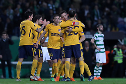 April 12, 2018 - Lisbon, Portugal - Atletico Madrids players celebrate after the UEFA Europa League second leg football match Sporting CP vs Atletico Madrid at Alvalade stadium in Lisbon, on April 12, 2018. (Credit Image: © Pedro Fiuza/NurPhoto via ZUMA Press)