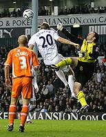 Photo: Tom Dulat.<br /> <br /> Tottenham Hotspur v Blackpool. Carling Cup. 31/10/2007.<br /> <br /> Goalkeeper Paul Rachubka of Blackpool prevents Michael Dawson of Tottenham Hotspur from scoring.