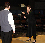 Danny Lipps (left) and Jane McBride during a dress rehearsal of Frank's Life at the Dayton Theatre Guild, Thursday, August 26, 2010.