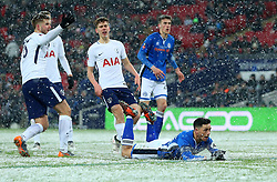 Ian Henderson of Rochdale lies on the ground after heading the ball towards goal - Mandatory by-line: Robbie Stephenson/JMP - 28/02/2018 - FOOTBALL - Wembley Stadium - London, England - Tottenham Hotspur v Rochdale - Emirates FA Cup fifth round proper