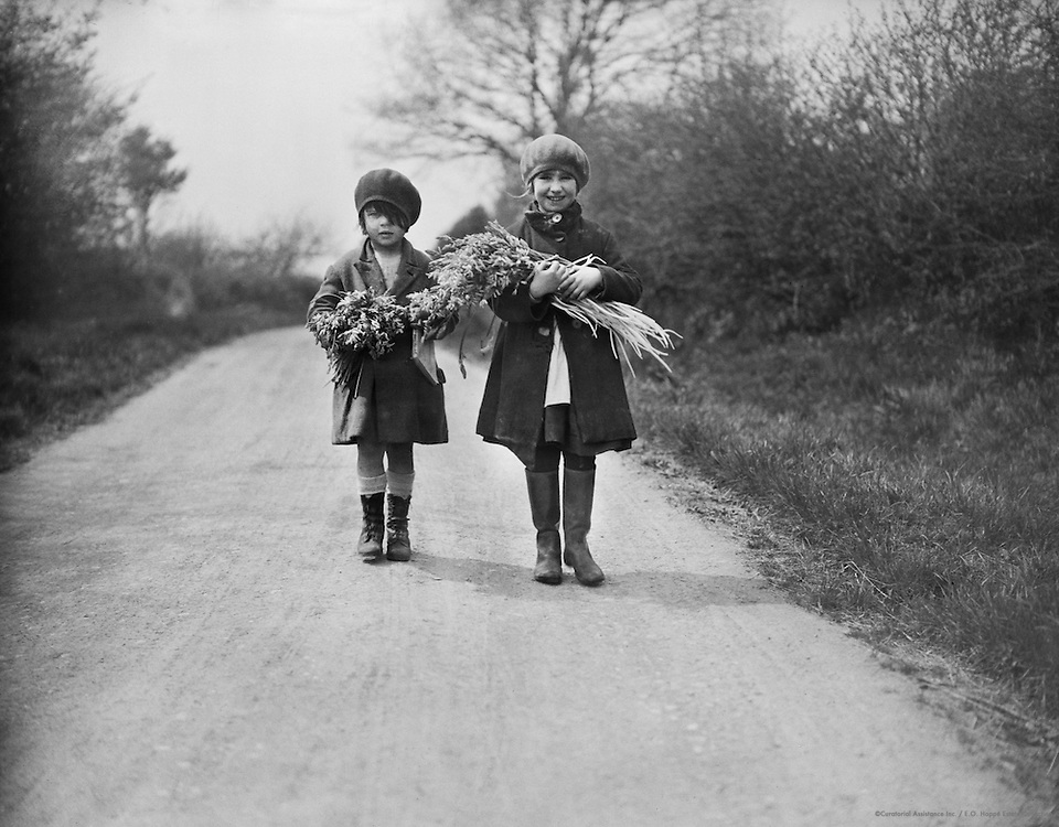 Children Carrying Bluebells, England, 1932