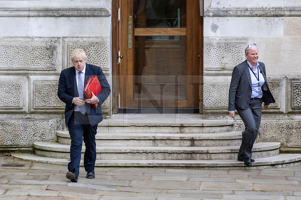 © Licensed to London News Pictures. 15/05/2018. London, UK. Foreign Secretary Boris Johnson (L) arrives on Downing Street for the Cabinet meeting. Photo credit: Rob Pinney/LNP