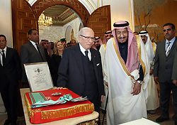 March 29, 2019 - Carthage, Tunisia - The President of the Republic, Béji Caïd Essebsi had, Friday afternoon, an interview at the Palace of Carthage, with King Salman Ben Abdelaziz Al Saoud who makes a state visit to Tunisia March 28, 29 and 30 current..According to a statement by the President of the Republic, the head of state held two bilateral talks with the King of Saudi Arabia and extended talks between the delegations of the two countries. (Credit Image: © Chokri Mahjoub/ZUMA Wire)