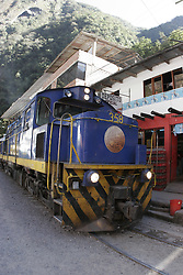 Passenger train at Machu Picchu Pueblo / Aguas Calientes, Peru<br />