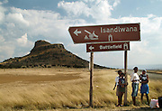 Spectators waiting for a taxi on the day of the battle to get to the site. Isandlwana. Zululand.