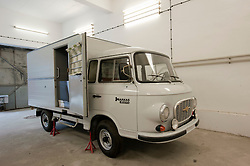 Former prisoner transport van at former East German state secret security police or STASI prison at Hohenschönhausen in Berlin Germany