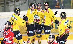 22.03.2019, Albert Schultz Halle, Wien, AUT, EBEL, Vienna Capitals vs HC Orli Znojmo, Viertelfinale, 5. Spiel, im Bild v.l. Torjubel Patrick Joseph Mullen (spusu Vienna Capitals), Julian Grosslercher (spusu Vienna Capitals), Sascha Bauer (spusu Vienna Capitals), Ali Wukovits (spusu Vienna Capitals) und Patrick Peter (spusu Vienna Capitals) // during the Erste Bank Icehockey 5th quarterfinal match between Vienna Capitals and HC Orli Znojmo at the Albert Schultz Halle in Wien, Austria on 2019/03/22. EXPA Pictures © 2019, PhotoCredit: EXPA/ Thomas Haumer