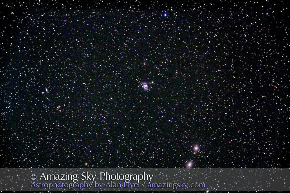 NGC 1566; the Spanish Dancer Galaxy; in Dorado. Other galaxies in the field are NGC 1549 (below right) and NGC 1553 (below that galaxy). Little edge-on is IC 2058. Pair of galaxies at left are NGC 1596 and NGC 1602. This is a stack of 4 x 10 minute exposures at ISO 800 with Canon 5D Mark II and Astro-Physics 105mm Traveler apo refractor at f/5.8. Taken from Timor Cottage, Coonabarabra, NSW, Australia, December 11, 2012.