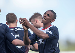 Falkirk's Phil Roberts celebrates after scoring their third goal.<br />