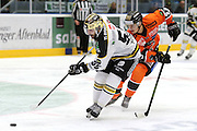 Joshua Soares of Stavanger Oilers and Max Krogdahl of Frisk during the GET-ligaen match between Stavanger Oilers and Frisk Asker at DNB Arena, Stavanger , Norway on 13 October 2016. Photo by Andrew Halseid-Budd.