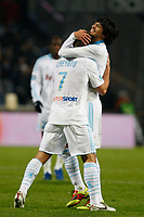 FOOTBALL - FRENCH CHAMPIONSHIP 2010/2011 - L1 - OLYMPIQUE MARSEILLE v MONTPELLIER HSC - 27/11/2010 - PHOTO PHILIPPE LAURENSON / DPPI - JOY BENOIT CHEYROU (OM) AFTER HIS GOAL WITH LUCHO GONZALEZ (OM)
