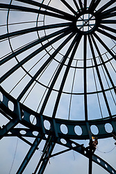 Steel structure of gazebo in construction, Cuenca, Ecuador, South America