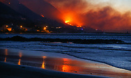 Cape Town, South Africa - Tuesday 7 November 2017. a raging mountain fire in the mountains above Gordon's Bay, about 60km from Cape Town.