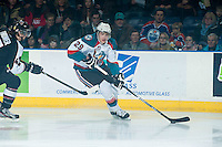 KELOWNA, CANADA - JANUARY 7: Leon Draisaitl #29 of Kelowna Rockets skates with the puck against the Vancouver Giants on January 7, 2015 at Prospera Place in Kelowna, British Columbia, Canada.  (Photo by Marissa Baecker/Shoot the Breeze)  *** Local Caption *** Leon Draisaitl;