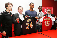 Reims's coach Jean Luc VASSEUR with Didier PERRIN Association President and the president Jean Pierre CAILLOT during the official presentation of David Ngog and Chris Mavinga, on September 2, 2014 in Reims . Photo Anthony Serpe / DPPI