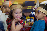 "Middletown, New York - Preschool students perform in ""YMCA Thanksgiving Day Spectacular"" on the stage of the Center for Youth Programs on Nov. 27, 2013."