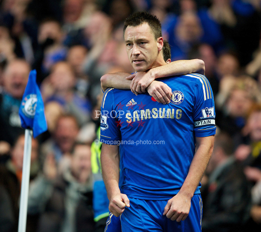 LONDON, ENGLAND - Sunday, November 11, 2012: Chelsea's John Terry celebrates scoring the first goal against Liverpool during the Premiership match at Stamford Bridge. (Pic by David Rawcliffe/Propaganda)