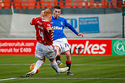 PENALTY - Hamilton Accies Ziggy Gordon is judged to have fouled Rangers Ryan Kent during the Ladbrokes Scottish Premiership match between Hamilton Academical FC and Rangers at The Hope CBD Stadium, Hamilton, Scotland on 24 February 2019.