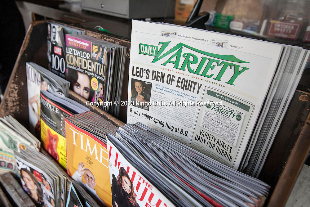 A Hollywood newsstand has final issues of Daily Variety for sale on Tuesday March 19, 2013 in California. The 80-year-old daily,Daily Variety, a favorite of entertainment executives, movie stars and publicists,  its print publication today. The publisher of Hollywood mainstay the Daily Variety said Tuesday would be its last print edition as the newspaper tries to adapt to the digital age.  (Photo by Ringo Chiu/PHOTOFORMULA.com).