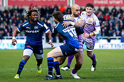 Olly Woodburn of Exeter Chiefs is tackled by Simon Hammersley of Sale Sharks - Mandatory by-line: Robbie Stephenson/JMP - 08/12/2019 - RUGBY - AJ Bell Stadium - Manchester, England - Sale Sharks v Exeter Chiefs - Heineken Champions Cup