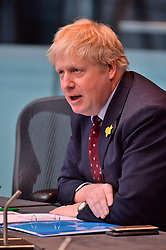 © Licensed to London News Pictures. 01/03/2018. London, UK. Boris Johnson MP, Secretary of State for Foreign and Commonwealth Affairs, appears before the London Assembly, in his capacity as former Mayor of London, to answer questions on the Garden Bridge project. The project collapses in acrimony after £37m spent without a brick being laid. Photo credit: Ray Tang/LNP