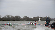 Putney. London, Varsity Fixtures,  CUBC and NED, racing side by side, towards Hammersmith. OUBC vs Molesey BC. and CUBC vs Select NED crew. on the championship Course Putney to Mortlake.  ENGLAND. <br /> <br /> Saturday  21/03/2015<br /> <br /> [Mandatory Credit; Intersport-images]