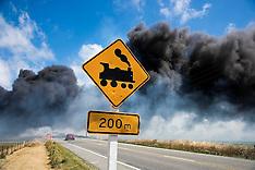 Oamaru-Steam locomotive starts grass fire