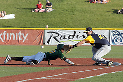 08 July 2017: Yeixon Ruiz John Montgomery during a Frontier League Baseball game between the Traverse City Beach Bums and the Normal CornBelters at Corn Crib Stadium on the campus of Heartland Community College in Normal Illinois