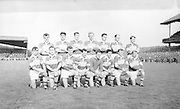 The Kerry team before the All Ireland Minor Gaelic football final Derry v. Kerry in Croke park on the 26th September 1965. <br /> Back row (from left) Denis O'Sullivan, Mick O'Dwyer, Vincent Lucey, Paud O'Donoghue, Mick O'Connell, Niall Sheehy, Mick Morris. <br /> Front row (from left) Derry O'Shea, Jo Jo Barrett, Gerdie O'Connor (capt), Seamus Murphy, John Culloty, Pat Griffin, Donie O'Sullivan, Bernie O'Callaghan. Galway 0-12 Kerry 0-09.