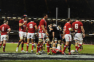 Wales players look dejected as New Zealand celebrate the try from Tony Woodcock (1,, in centre). Dove Men autumn international series, Wales v New Zealand at the Millennium stadium in Cardiff , South Wales on Saturday 24th November 2012. pic by Andrew Orchard, Andrew Orchard sports photography,