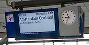 Platform electronic display for Intercity train departure to Amsterdam Centraal, Rotterdam Central railway station, Netherlands