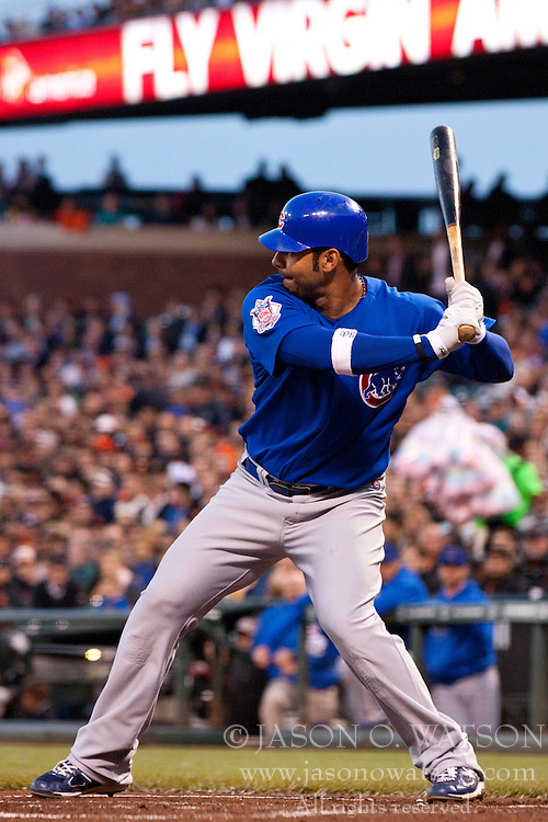 August 30, 2011; San Francisco, CA, USA;  Chicago Cubs first baseman Carlos Pena (22) at bat against the San Francisco Giants during the second inning at AT&T Park. Chicago defeated San Francisco 5-2.