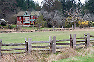 Alfred Ruckle's Queen Anne style house built in 1906 on the farmland now in Ruckle Provincial Park on Salt Spring Island, British Columbia, Canada.  The Ruckle Farm has been in continuous use as farmland since Henry Ruckle began farming there in 1872.  Photographed from Beaver Point Road next to the park headquarters building.