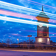 The clock tower at the centre of the roundabout in Westminster woods in South Guelph is now an icon of South Guelph.  At nighttime, buses, and local traffic use the roundabout to navigate the neighbourhood.  Photo by Mido Melibari.