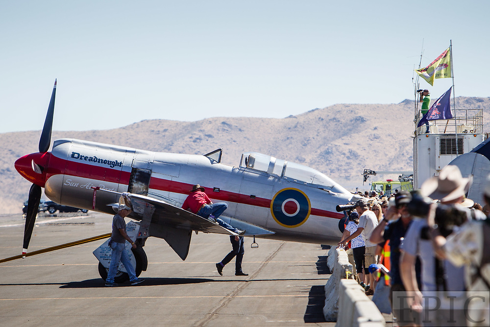 RENO, NV - SEPTEMBER 13: Fans watch as an airplane named the Dreadnaught is pushed off the ramp during the Reno Championship Air Races on September 13, 2017 in Reno, Nevada. (Photo by Jonathan Devich/Getty Images)