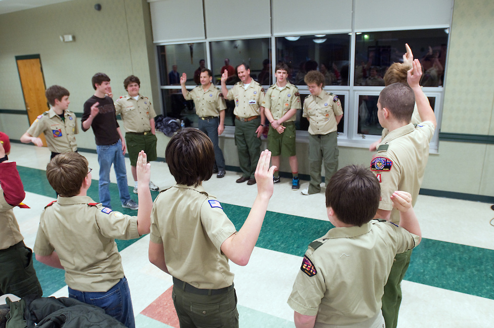 Opening ceremony of the meeting. Boys are in uniform once a month. A regular Monday, March 1, 2010 meeting of Boy Scout Troop 4 at St. Agnes Catholic Church on Newburg Road. (Photo by Brian Bohannon)