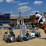 03.08.2018 The Longines Global Champions Tour Show jumping at The Royal Hospital Chelsea London UK Global Champions League of London for teams with the Royal Chelsea hospital in the background CS15 Competition in 2 phases Harry Charles GBR riding Quantum Cruise