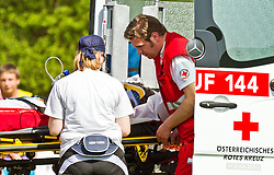11.04.2011, Hoellenriedstadion, Hohenems, AUT, EFAF CUP, Gruppe 2, Cineplexx Blue Devils vs. Kragujevac Wild Boars, im Bild Columbus Givens wird vom Roten Kreuz ins Krankenhaus gebracht, Columbus Givens is brought by ambulance to the hospital , EXPA Pictures © 2011, PhotoCredit: EXPA/ P. Rinderer