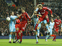 Photo: Paul Greenwood.<br />Liverpool v Marseille. UEFA Champions League, Group A. 03/10/2007.<br />Liverpool's Sami Hypia heads on goal