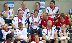 Prince Harry with  Team GB Members at the Aquatics Centre at the London 2012 Paralympics Games, Tuesday September 2012. Photo By i-Images